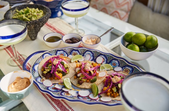 roasted veggie tacos turmeric chickpeas guacamole