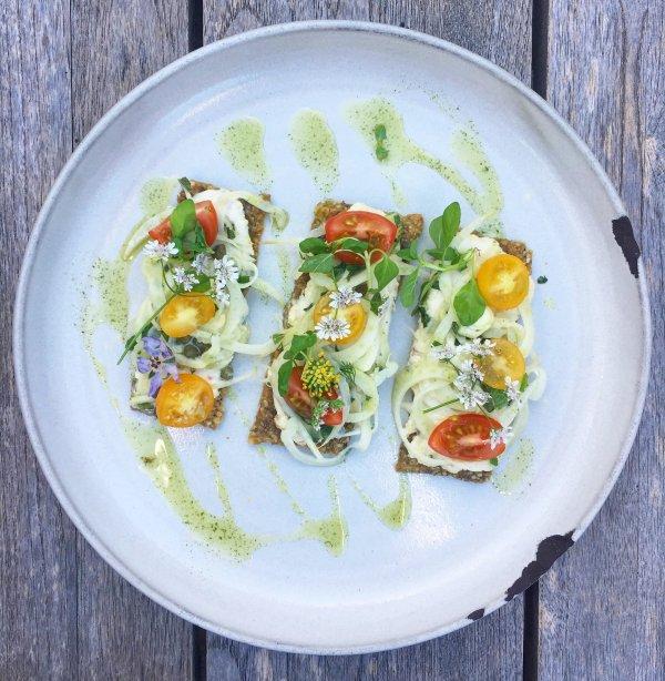 zucchini hummus avocado toast lemon tahini